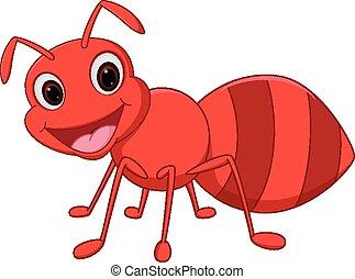 szczęśliwy, rysunek, mrówka