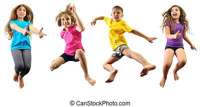 szczęśliwy, skokowy, wykonując, dzieci