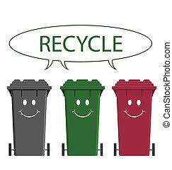 szczęśliwy, skrzynie, recycling