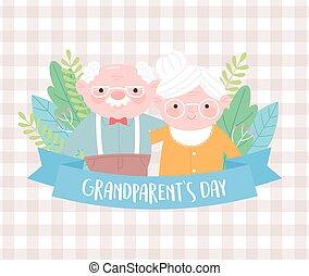 szczęśliwy, sprytny, razem, dziadkowie, stary, kwiaty, dzień, para, liście, karta, rysunek