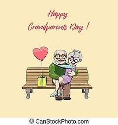 szczęśliwy, starsza para, zakochany, świętując, krajowy, dziadkowie, day., chorągiew
