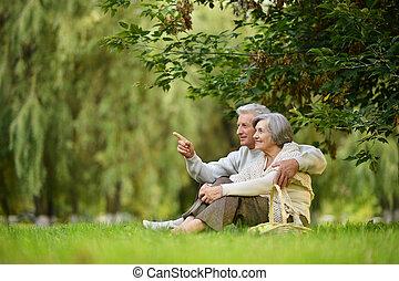 szczęśliwy, stary zaludniają