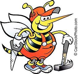 szczęśliwy, stolarz, pracujący, pszczoła