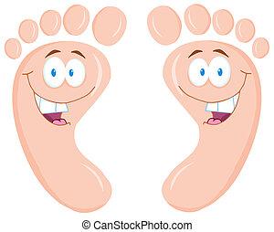 szczęśliwy, stopa odcisk