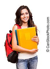 szczęśliwy, student, młody