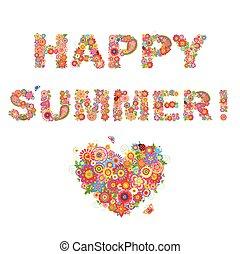 szczęśliwy, summer!, kwiaty, druk