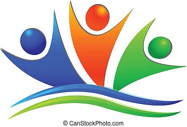 szczęśliwy, swooshes, teamwork, ludzie, logo