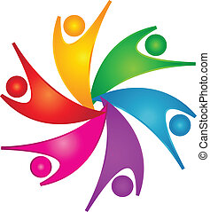 szczęśliwy, teamwork, ludzie, logo