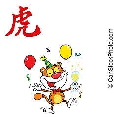 szczęśliwy, tiger, zwierzę, partia