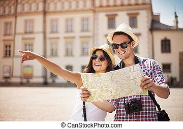 szczęśliwy, turysta, miasto mapa, zwiedzanie