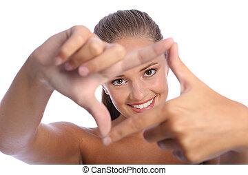 szczęśliwy, ułożyć, znak, palec, zabawa, dziewczyna, ręka,...