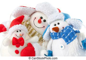 szczęśliwy uśmiechnięty, bałwan, rodzina