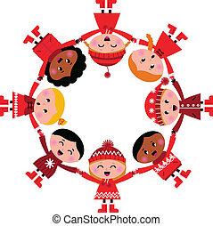 szczęśliwy uśmiechnięty, zima, dzieciaki, w, circle., wektor, rysunek, illustration.