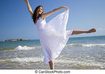szczęśliwy, w, przedimek określony przed rzeczownikami, morze