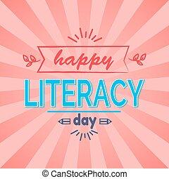 szczęśliwy, wektor, dzień, ilustracja, umiejętność czytania i pisania