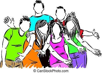 szczęśliwy, wektor, grupa, ilustracja, przyjaciele
