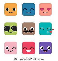szczęśliwy, wektor, komplet, emoji