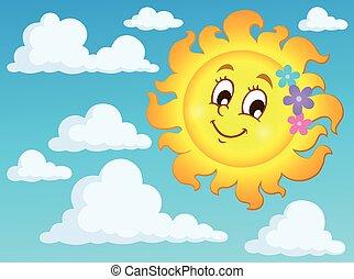 szczęśliwy, wiosna, słońce, temat
