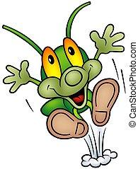 szczęśliwy, zielony bug, -, cielna, skok