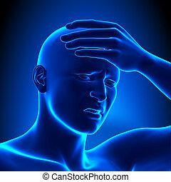 szczegół, ból głowy