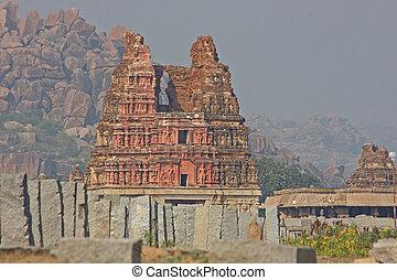 szczegół, kryszna, świątynia, indie, hampi, karnataka, stan
