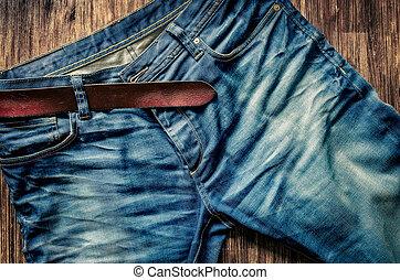 szczegół, od, błękitne dżinsy, z, skóra, pasek, w, rocznik...