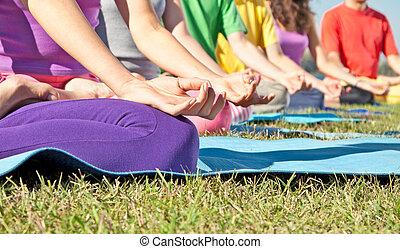 szczegół, od, ludzie, yoga, lotos, position., yoga, concept.