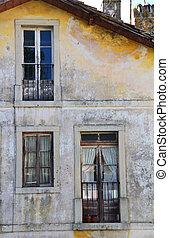 szczegół, od, stary, cielna, opuszczony, dom