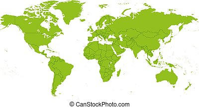 szczegółowy, świat, wektor, mapa