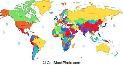 szczegółowy, świat, wielobarwny, mapa