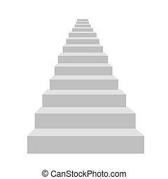 szczegółowy, biały, wektor, schody, ilustracja