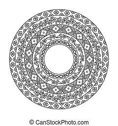 szczegółowy, dekoracyjny, starożytny, chińczyk, pattern., motywy, okrągły