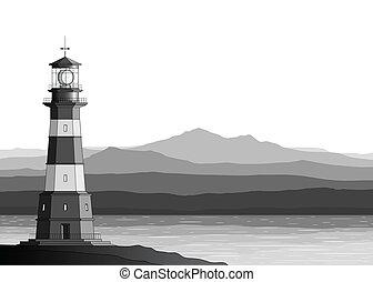 szczegółowy, góry, krajobraz, morze, latarnia morska