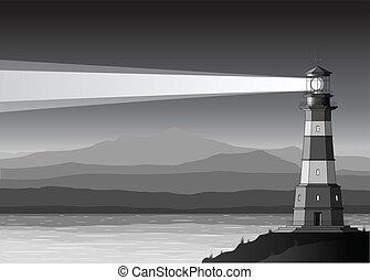 szczegółowy, góry, morze, noc, krajobraz, latarnia morska
