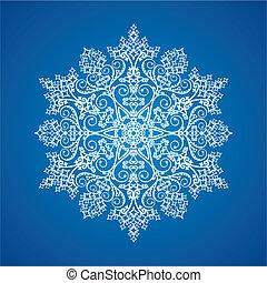 szczegółowy, jednorazowy, płatek śniegu