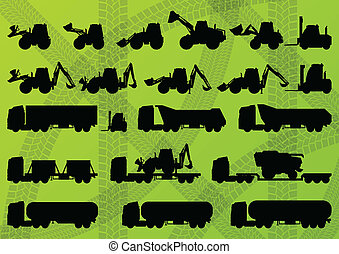szczegółowy, kartele, przemysłowy, ciężarówki, żniwiarze, traktory, ilustracja, wyposażenie, sylwetka, wektor, ekskawatory, zbiór, tło, gospodarka, rolnictwo