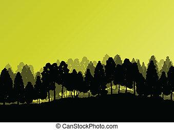 szczegółowy, kasownik, drzewa, sylwetka, ilustracja, tło,...