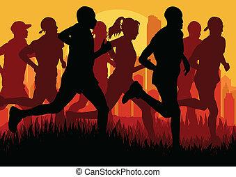 szczegółowy, kobieta, ilustracja, maraton, czynny, biegacze...