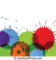 szczegółowy, kolor, abstrakcyjny, ilustracja, malować, plamy...