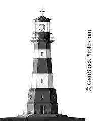 szczegółowy, latarnia morska, biały, -, odizolowany