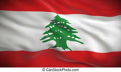 szczegółowy, libańska bandera, wysoko