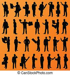 szczegółowy, ludzie, umiejscawiać, ilustracja, dyrektor, szef, sylwetka, wektor, pracownik, tło, zbiór, zbudowanie, dyrektor, inżynier
