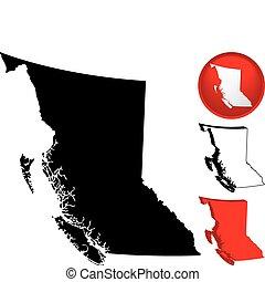 szczegółowy, mapa, kanada, brytyjska columbia