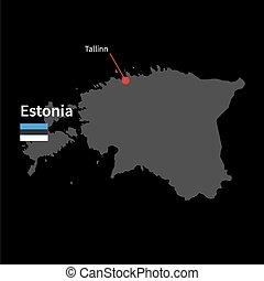 szczegółowy, mapa, od, estonia, i, kapitalne miasto,...