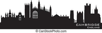 szczegółowy, miasto, cambridge, anglia, skyline przedstawią w sylwecie