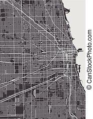 szczegółowy, miasto, chicago, mapa, wektor, plan