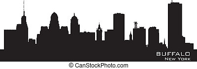 szczegółowy, miasto, sylwetka, bawół, york., nowy