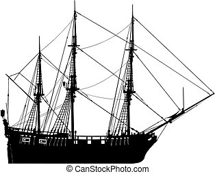 szczegółowy, nawigacja, bardzo, cześć, (vect, łódka