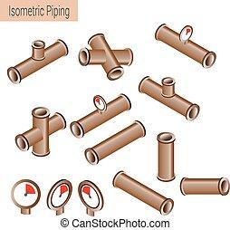 szczegółowy, płaski, isometric, zbiór, kawałki, wektor, ilustracja, zbudowanie, 3d