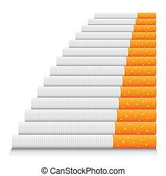 szczegółowy, papierosy, -, odizolowany, ilustracja,...
